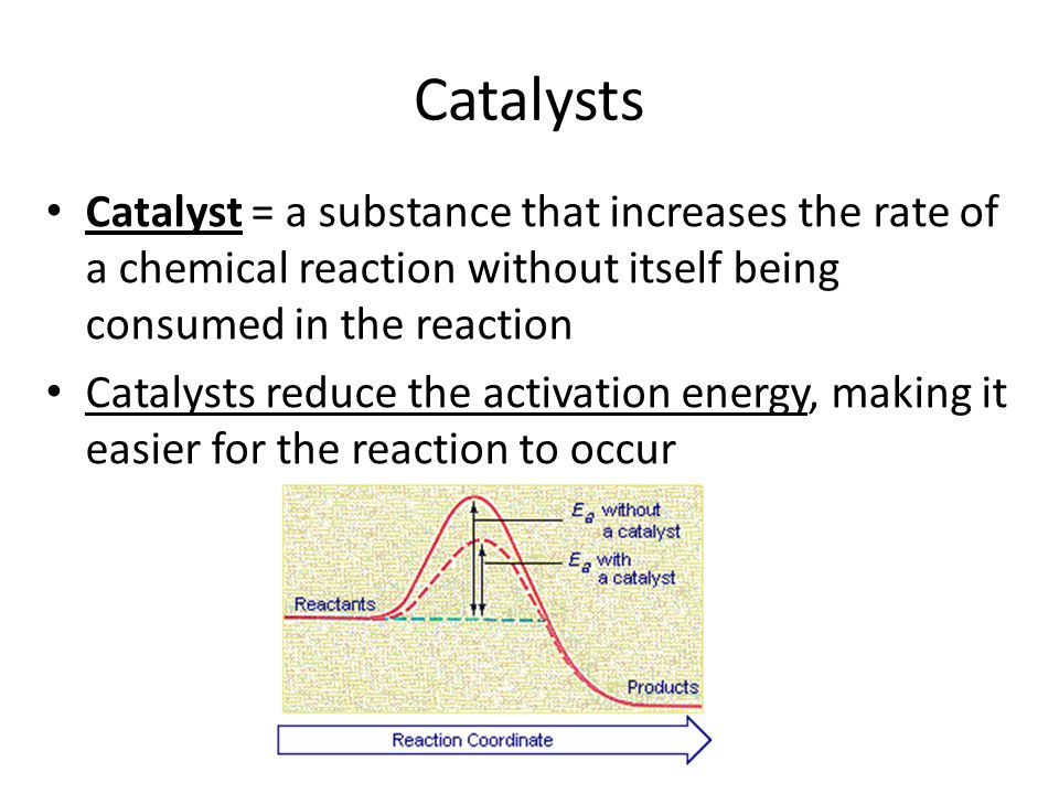 Catalysts Catalyst = a substance that increases the rate of a chemical reaction without itself being consumed in the reaction.