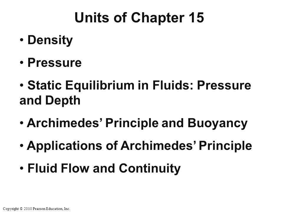 Units of Chapter 15 Density Pressure