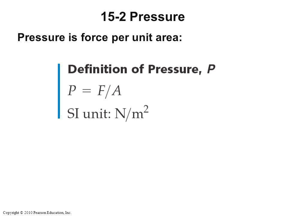 15-2 Pressure Pressure is force per unit area: