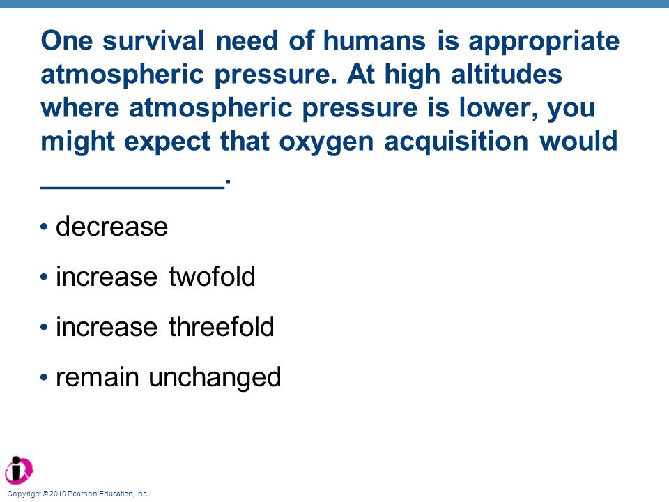One survival need of humans is appropriate atmospheric pressure