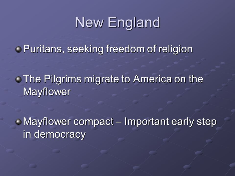 New England Puritans, seeking freedom of religion