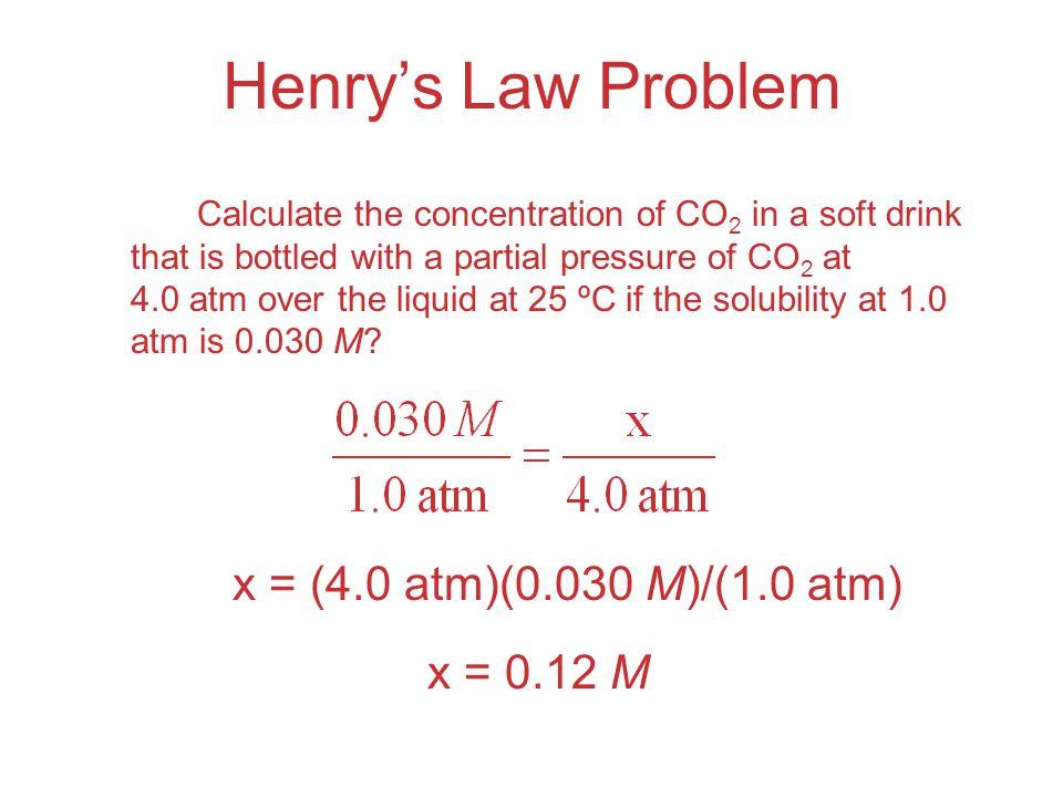 Henry's Law Problem x = (4.0 atm)(0.030 M)/(1.0 atm) x = 0.12 M