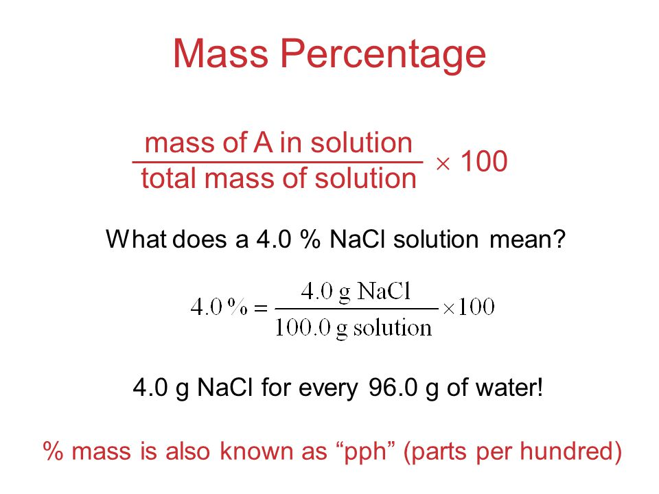 % mass is also known as pph (parts per hundred)