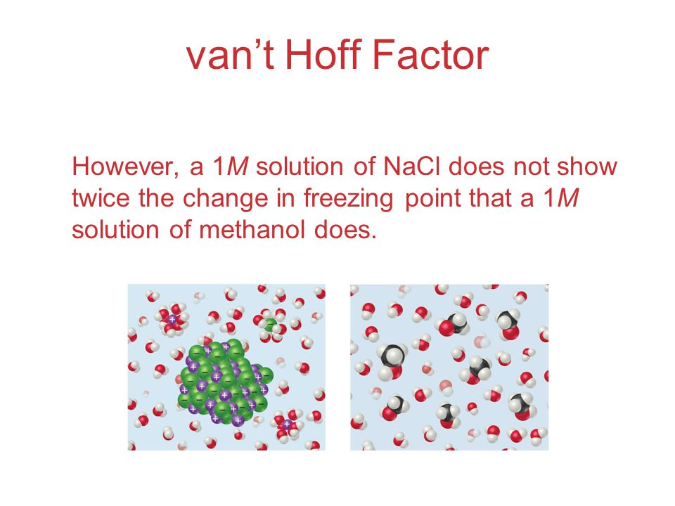 van't Hoff Factor However, a 1M solution of NaCl does not show twice the change in freezing point that a 1M solution of methanol does.