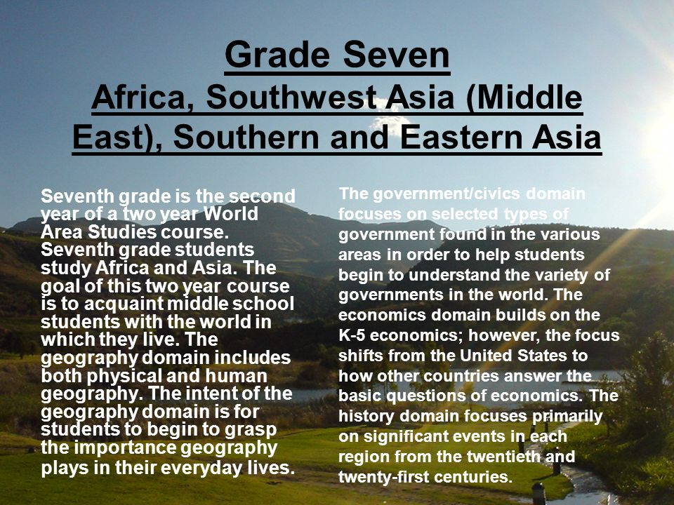 Grade Seven Africa, Southwest Asia (Middle East), Southern and Eastern Asia