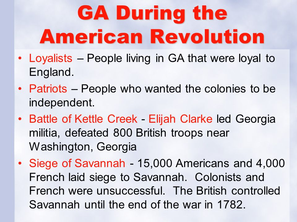 GA During the American Revolution