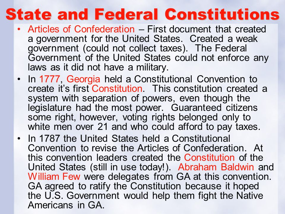 State and Federal Constitutions