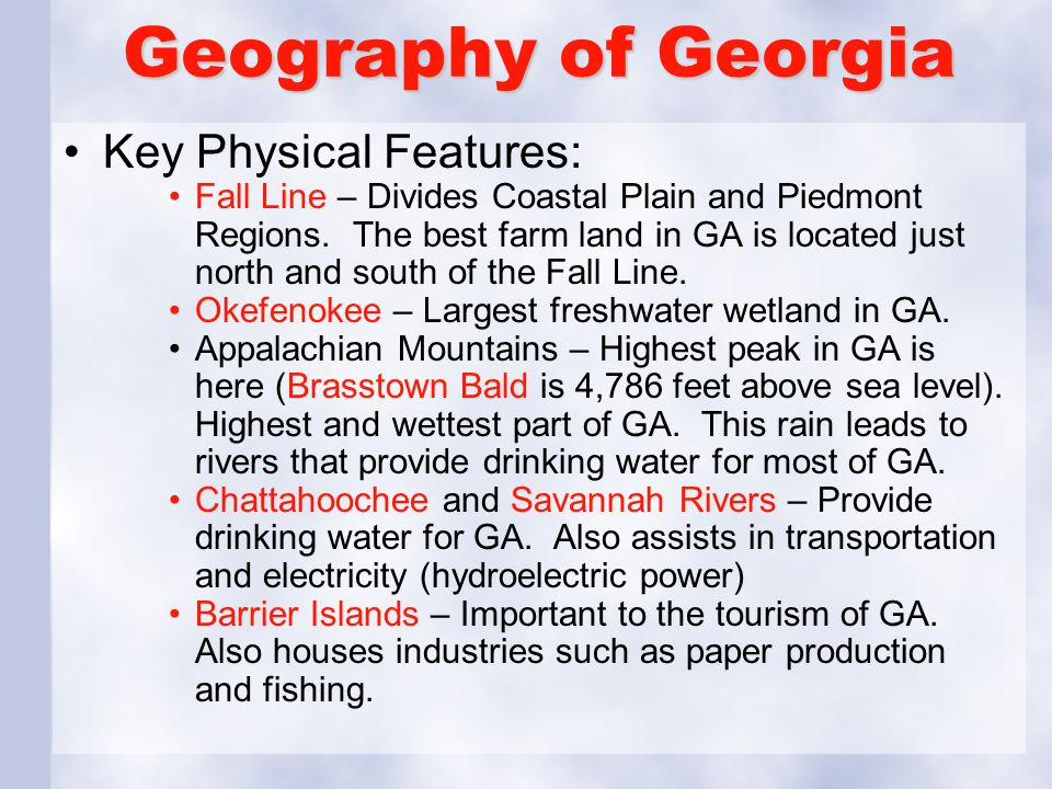 Geography of Georgia Key Physical Features: