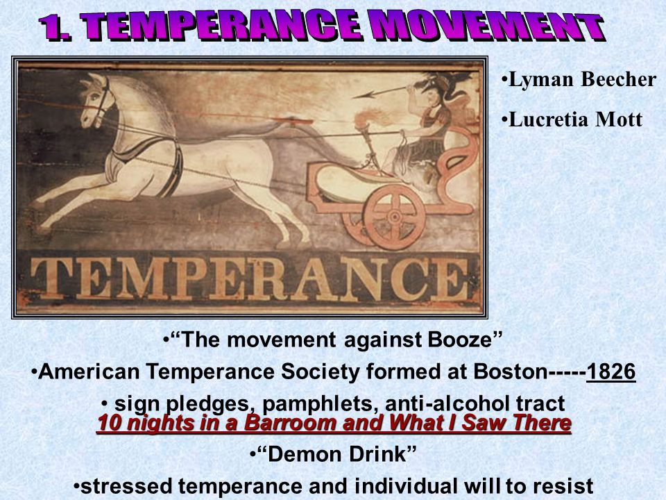 1. TEMPERANCE MOVEMENT Lyman Beecher Lucretia Mott