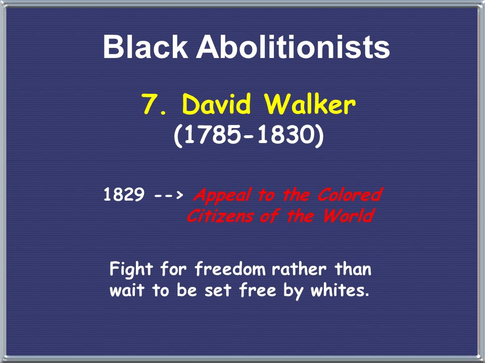 Black Abolitionists 7. David Walker (1785-1830)