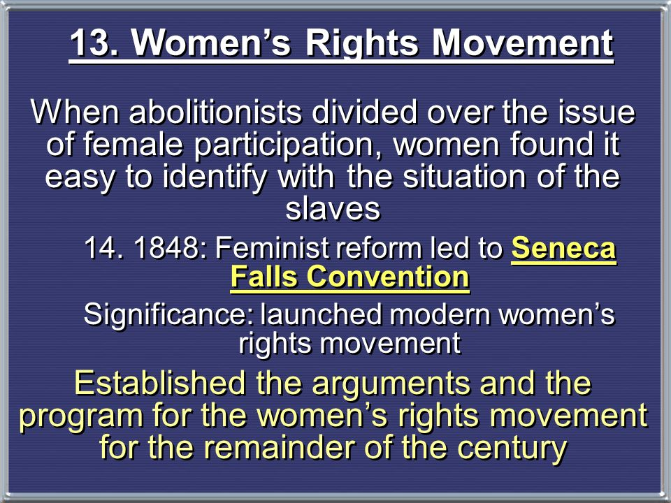 13. Women's Rights Movement
