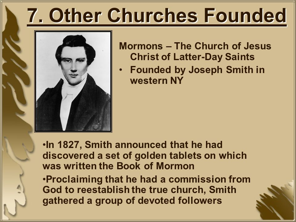 7. Other Churches Founded