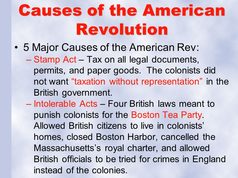 reasons for the american revolution essay There were many causes of the american revolution, some noble and some not so noble here's a look at all of them.