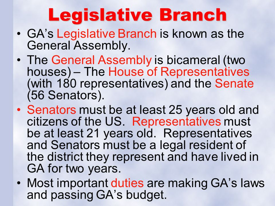 Legislative Branch GA's Legislative Branch is known as the General Assembly.