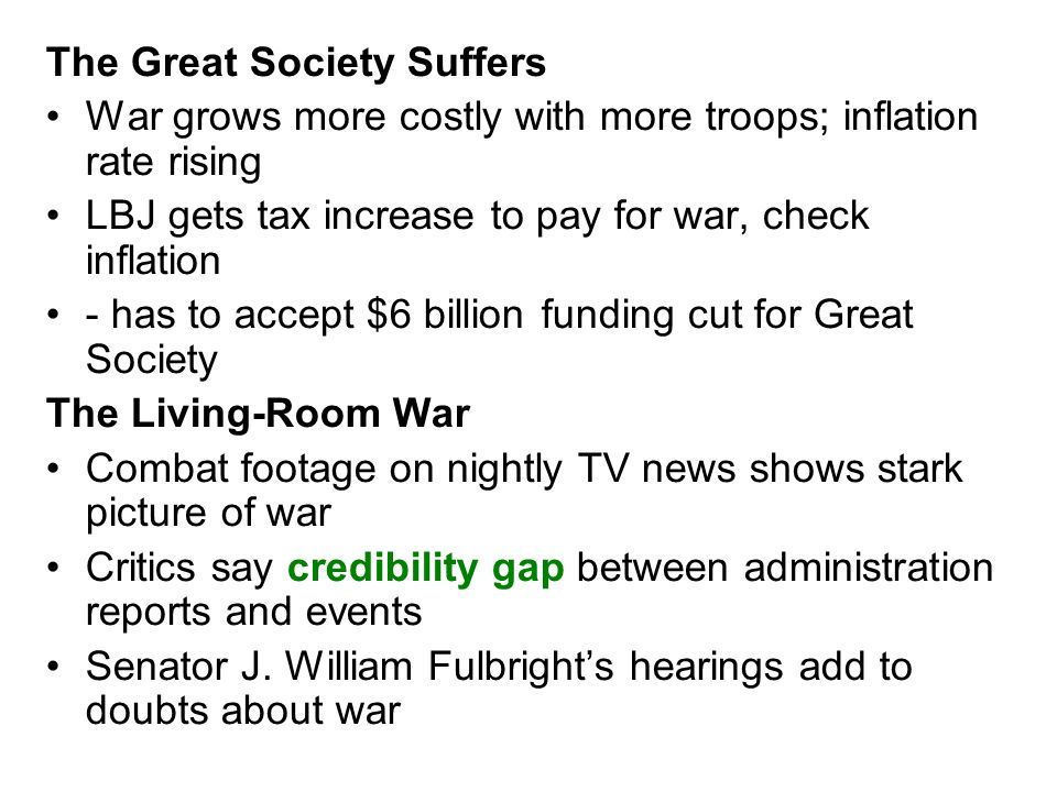 The Great Society Suffers