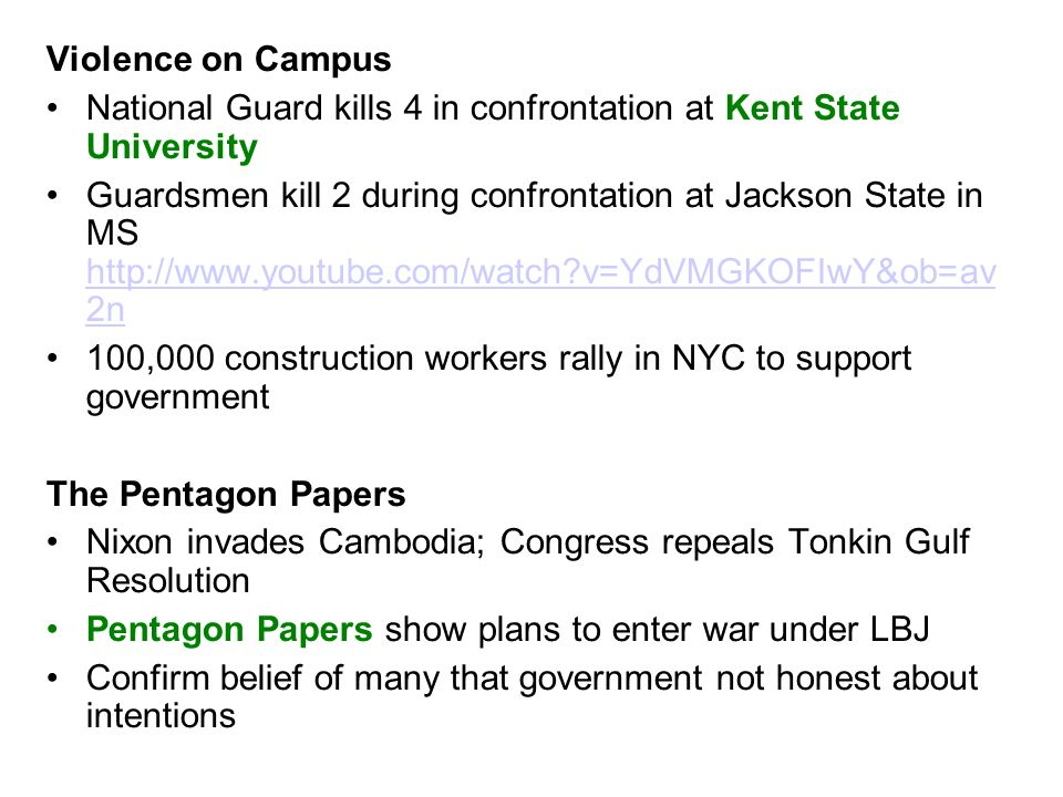 Violence on CampusNational Guard kills 4 in confrontation at Kent State University.