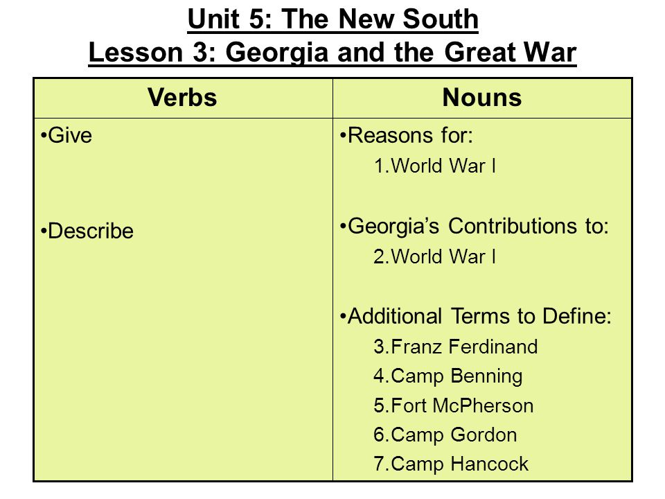 Unit 5: The New South Lesson 3: Georgia and the Great War