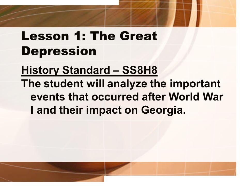 Lesson 1: The Great Depression