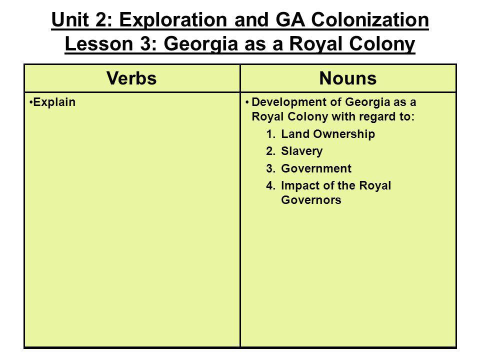 Unit 2: Exploration and GA Colonization Lesson 3: Georgia as a Royal Colony