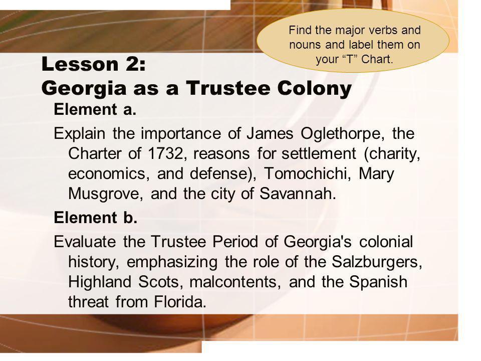 Lesson 2: Georgia as a Trustee Colony