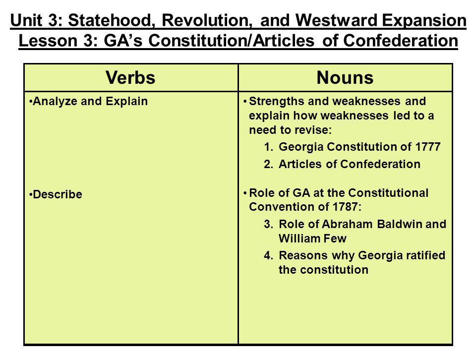 Unit 3: Statehood, Revolution, and Westward Expansion Lesson 3: GA's Constitution/Articles of Confederation