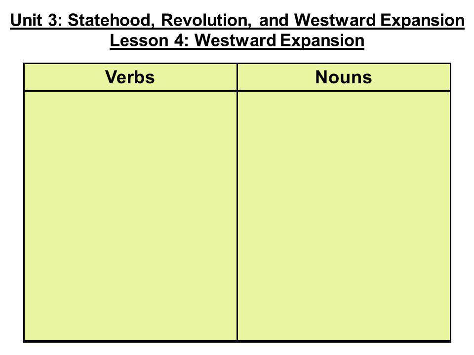 Unit 3: Statehood, Revolution, and Westward Expansion Lesson 4: Westward Expansion