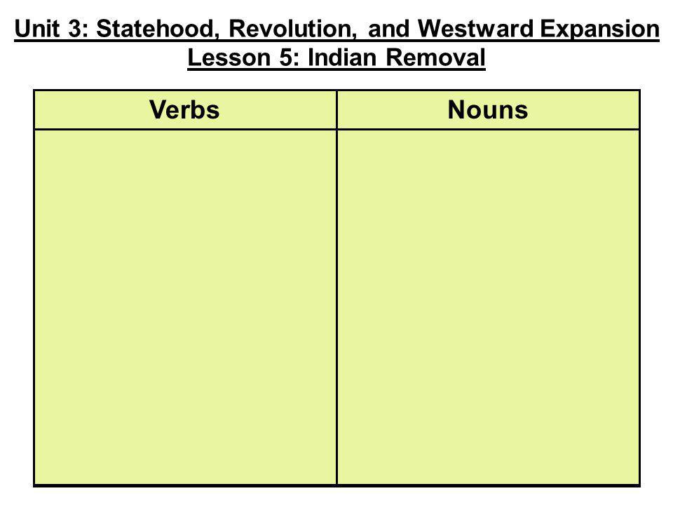 Unit 3: Statehood, Revolution, and Westward Expansion Lesson 5: Indian Removal