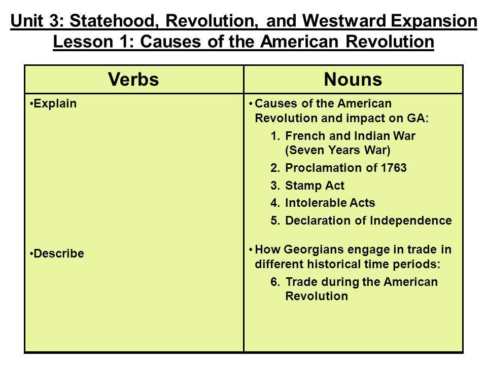 Unit 3: Statehood, Revolution, and Westward Expansion Lesson 1: Causes of the American Revolution