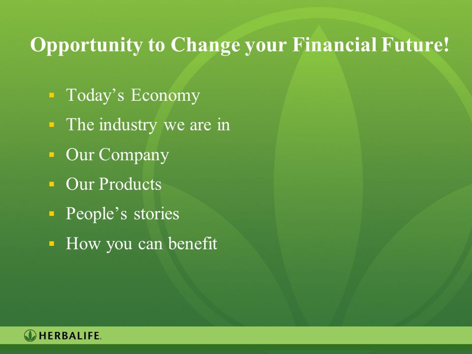 Opportunity to Change your Financial Future!