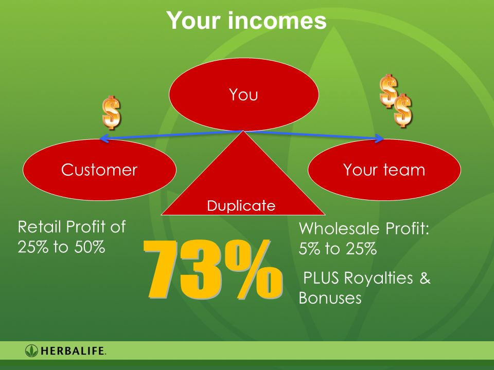73% Your incomes You Customer Wholesale Profit: 5% to 25%