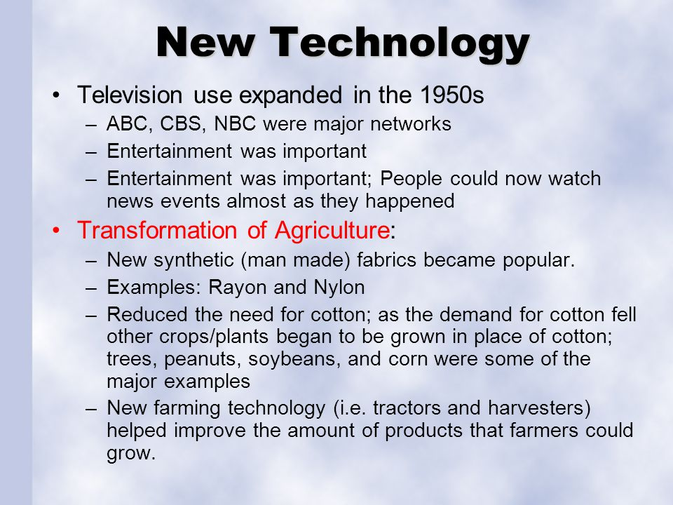 New Technology Television use expanded in the 1950s