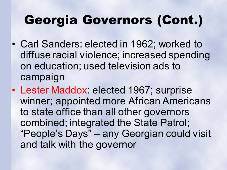 Georgia Governors (Cont.)