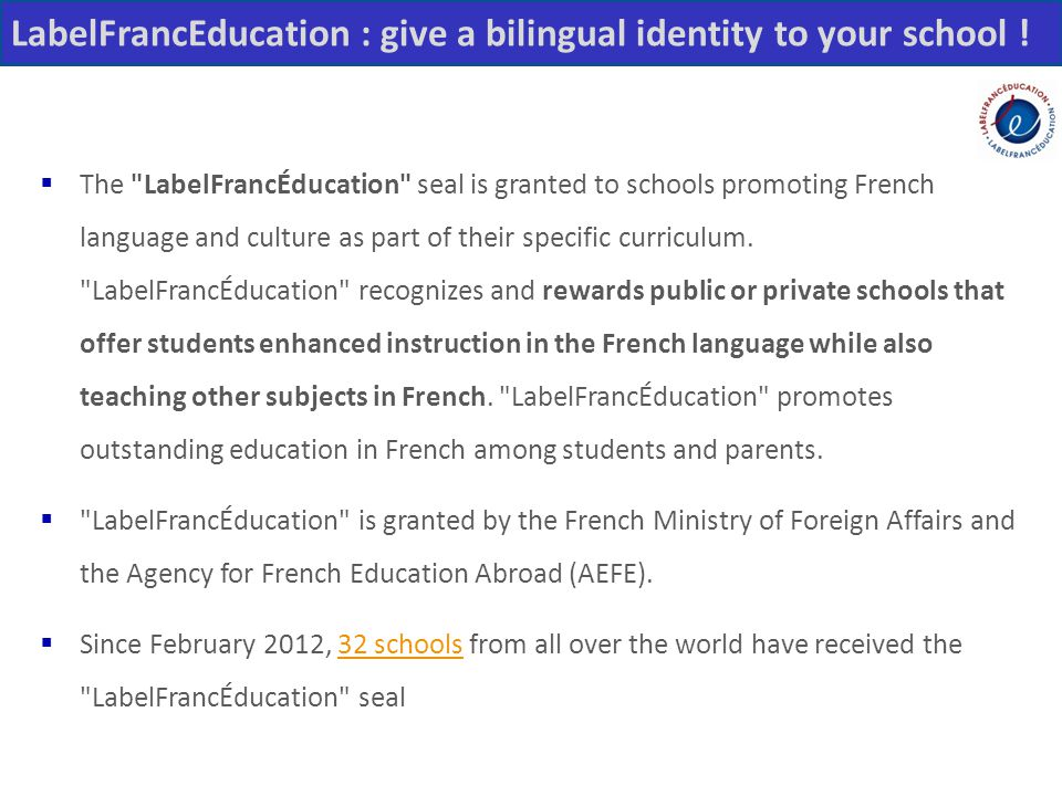 LabelFrancEducation : give a bilingual identity to your school !
