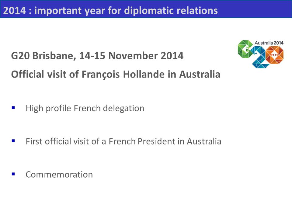 2014 : important year for diplomatic relations