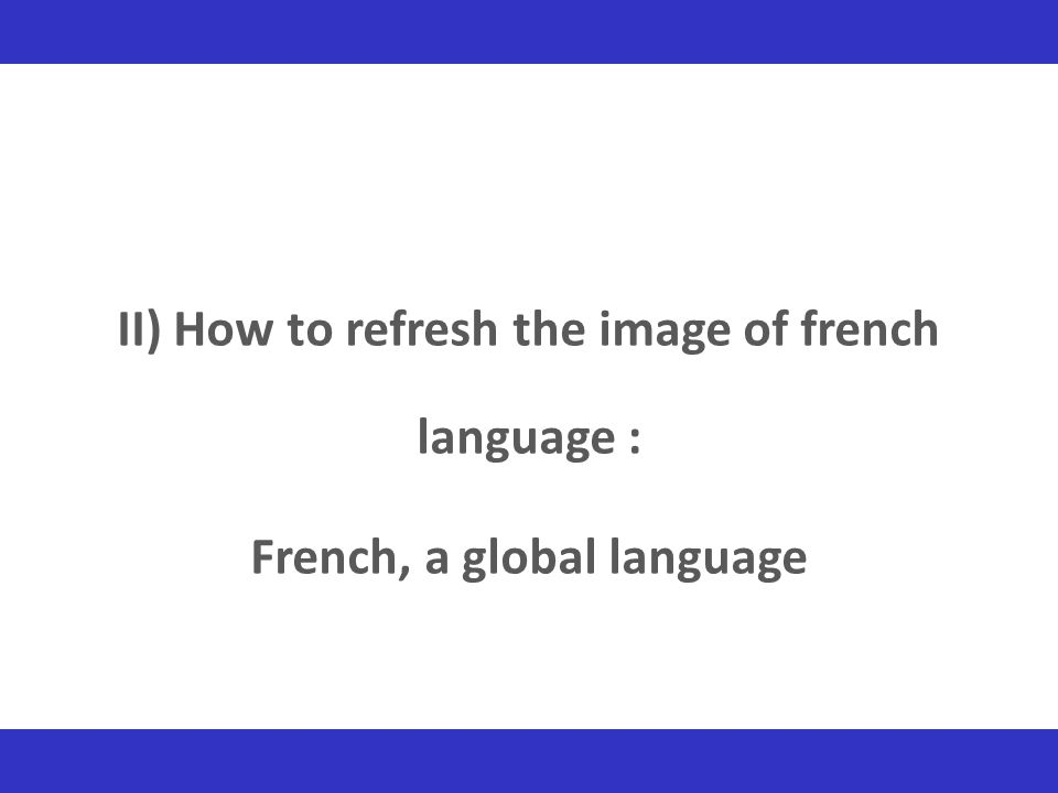 II) How to refresh the image of french language :