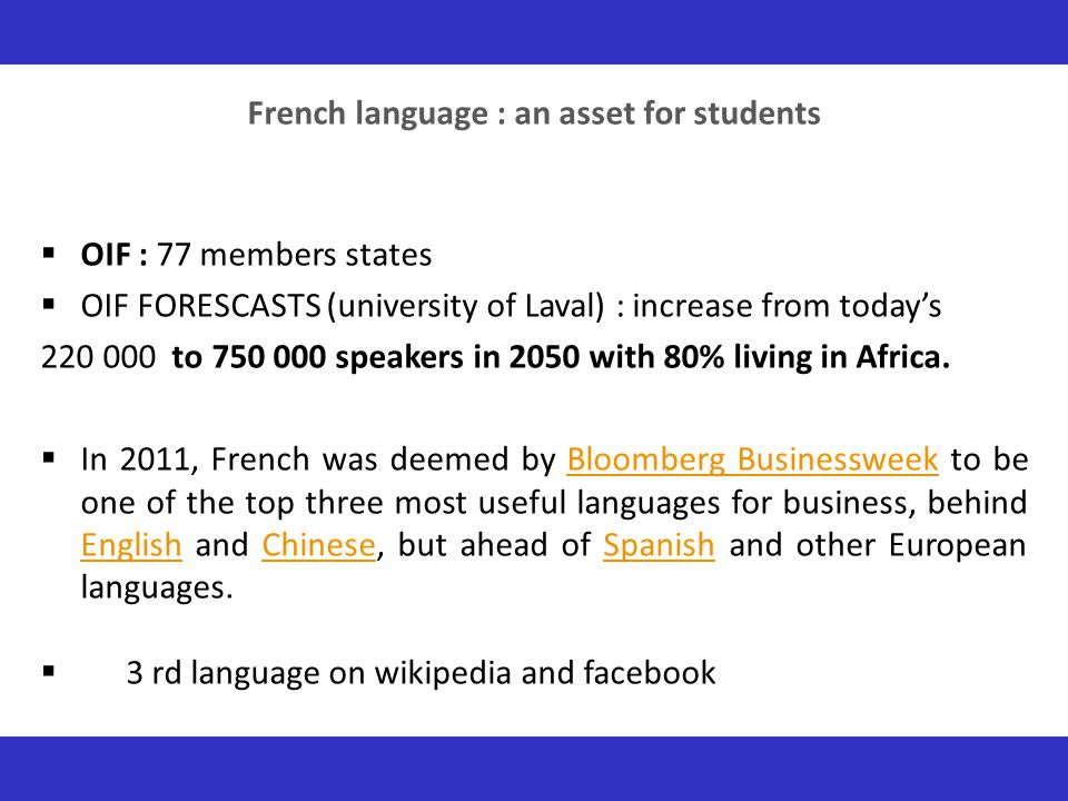 French language : an asset for students