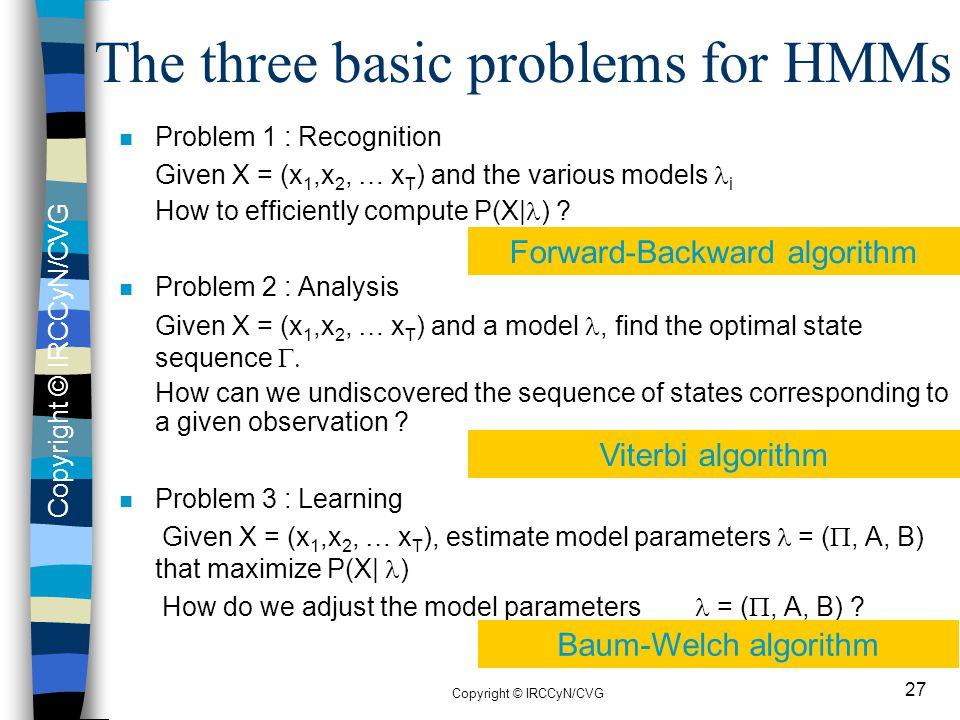 The three basic problems for HMMs