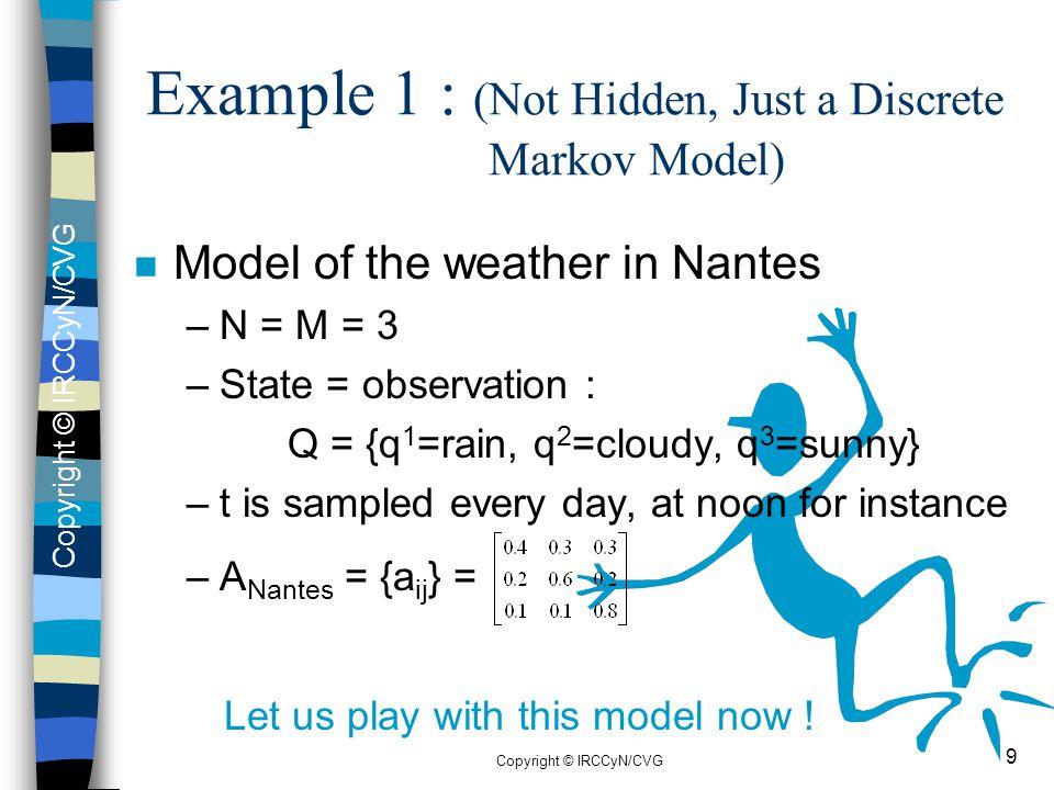 Example 1 : (Not Hidden, Just a Discrete Markov Model)