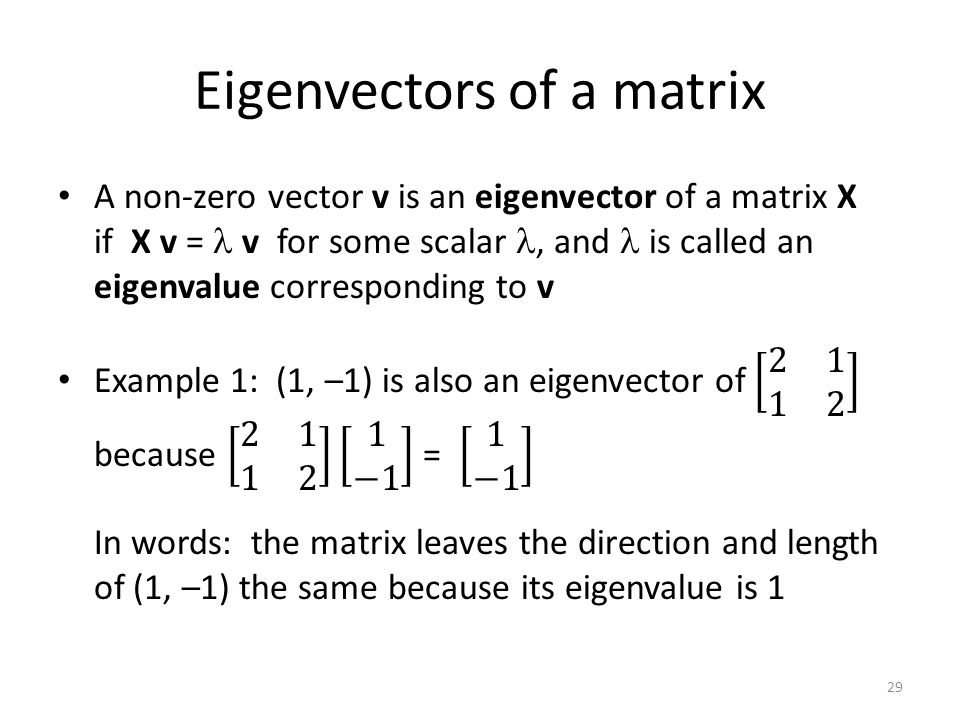 Eigenvectors of a matrix