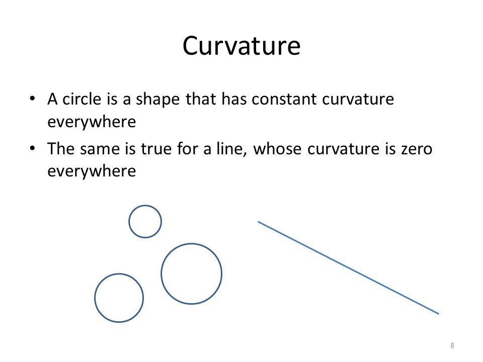 Curvature A circle is a shape that has constant curvature everywhere
