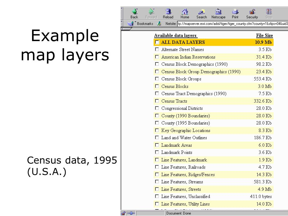 Example map layers Census data, 1995 (U.S.A.)