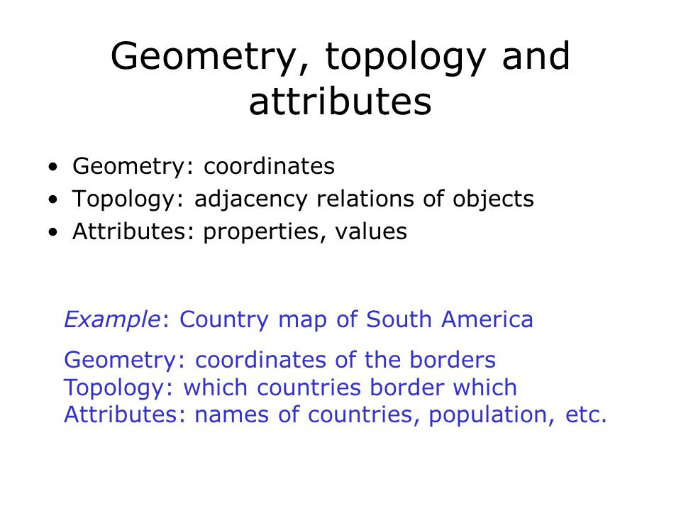 Geometry, topology and attributes