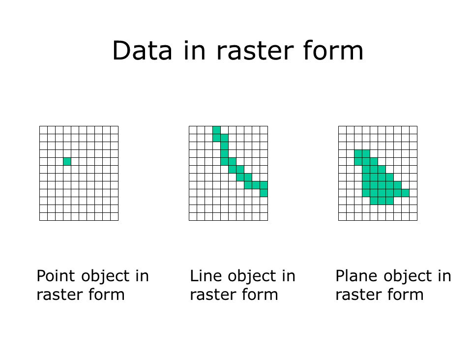 Data in raster form Point object in raster form Line object in