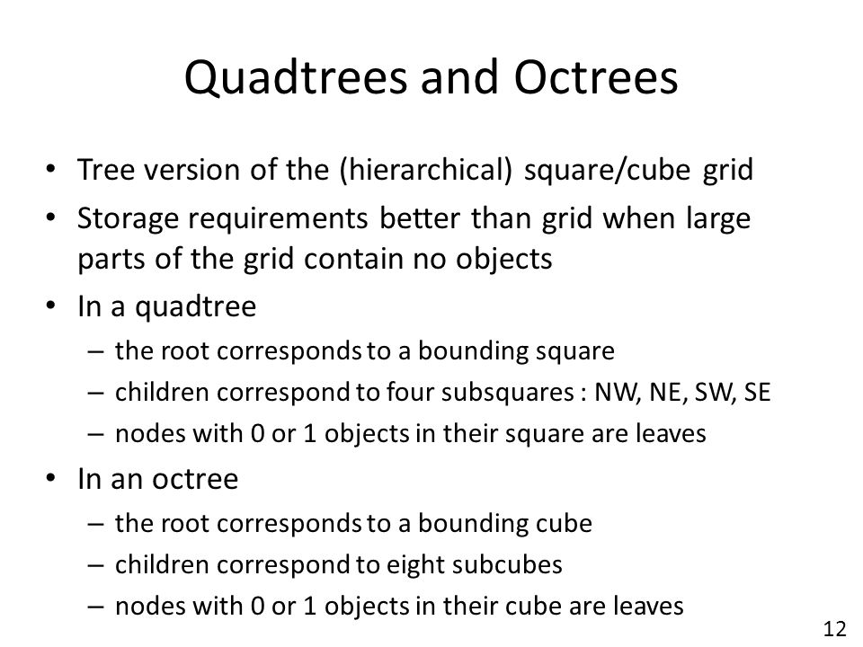 Quadtrees and Octrees Tree version of the (hierarchical) square/cube grid.
