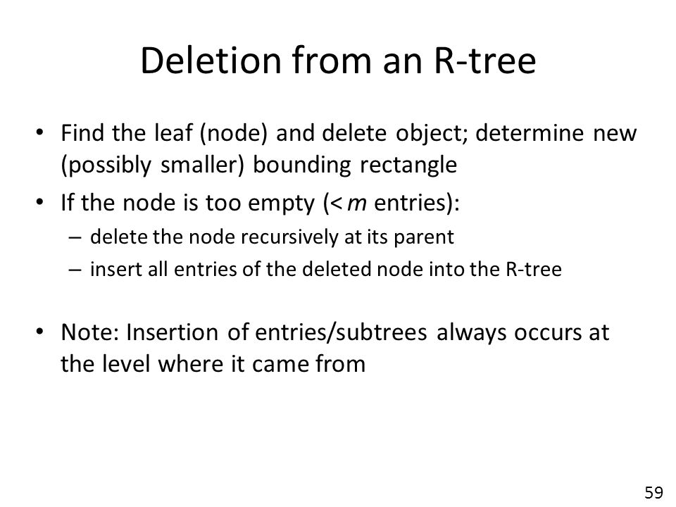 Deletion from an R-tree