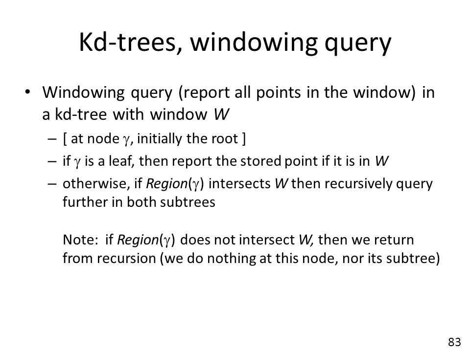 Kd-trees, windowing query