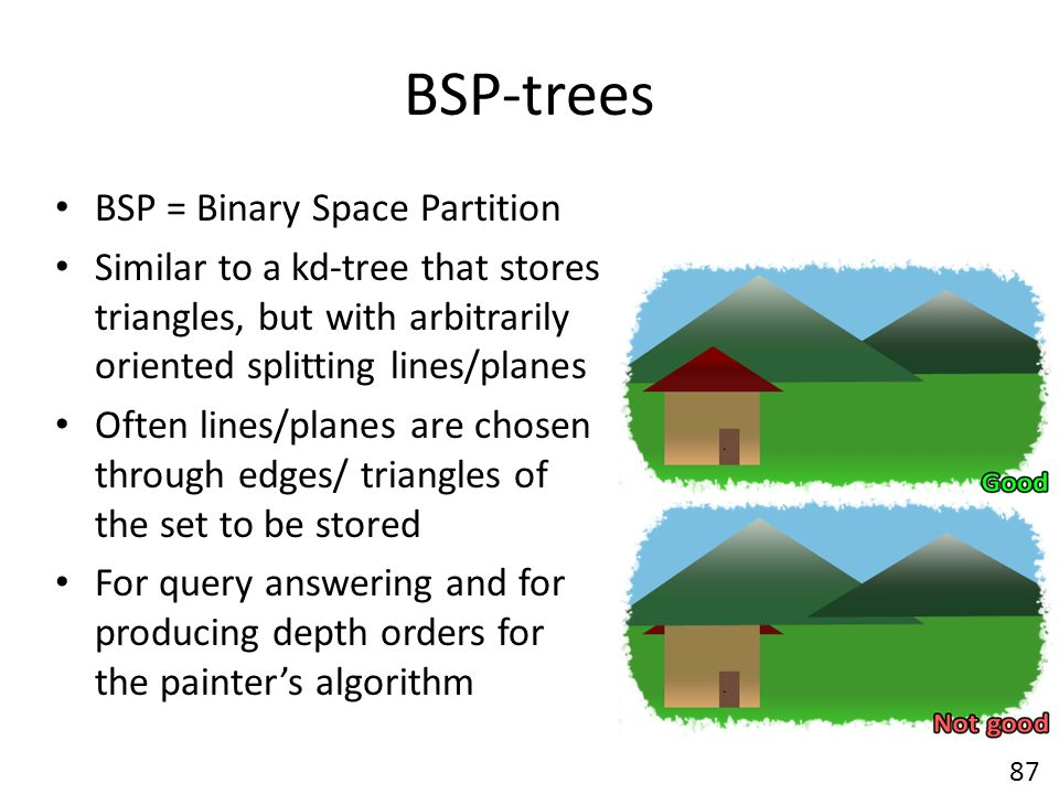BSP-trees BSP = Binary Space Partition