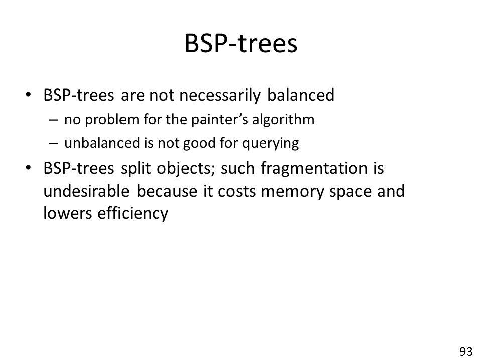 BSP-trees BSP-trees are not necessarily balanced