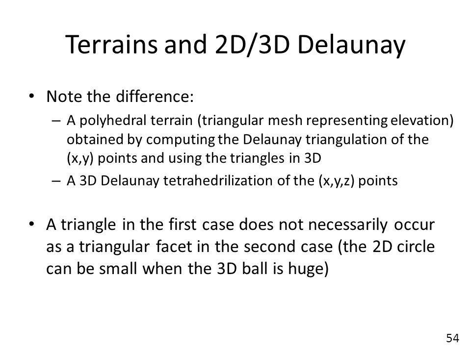 Terrains and 2D/3D Delaunay