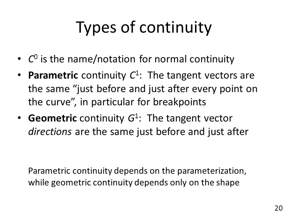 Types of continuity C0 is the name/notation for normal continuity